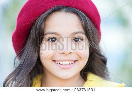 Autumn Hat Fashion Accessory. French Trend Fall Season. Girl Walk Defocused Background. Charming Lit