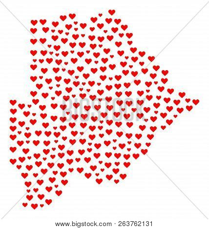 Collage Map Of Botswana Composed With Red Love Hearts. Vector Lovely Geographic Abstraction Of Map O