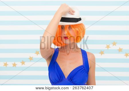 Crazy Girl In Hat. Fashion Woman With Orange Hair. Glamour Fashion Model. Stylish Girl With Crazy Lo