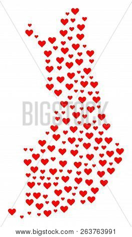 Mosaic Map Of Finland Designed With Red Love Hearts. Vector Lovely Geographic Abstraction Of Map Of