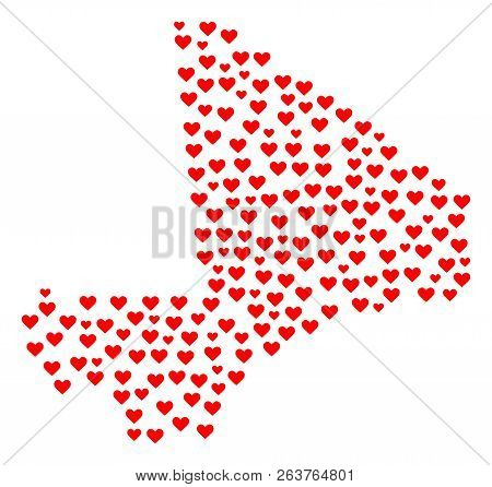 Mosaic Map Of Mali Created With Red Love Hearts. Vector Lovely Geographic Abstraction Of Map Of Mali