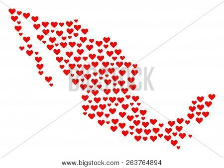 Collage Map Of Mexico Designed With Red Love Hearts. Vector Lovely Geographic Abstraction Of Map Of