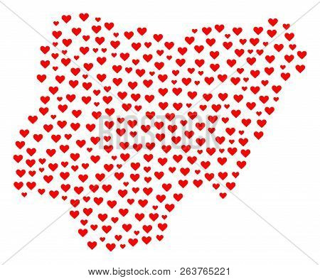 Collage Map Of Nigeria Composed With Red Love Hearts. Vector Lovely Geographic Abstraction Of Map Of