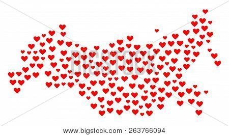 Mosaic Map Of Russia Formed With Red Love Hearts. Vector Lovely Geographic Abstraction Of Map Of Rus
