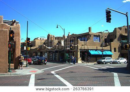 Santa Fe, New Mexico - September 23: Intersection Of East San Francisco Street And Old Santa Fe Trai
