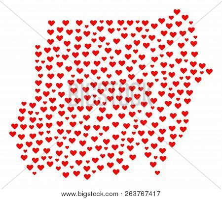 Collage Map Of Sudan Created With Red Love Hearts. Vector Lovely Geographic Abstraction Of Map Of Su