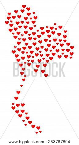 Mosaic Map Of Thailand Created With Red Love Hearts. Vector Lovely Geographic Abstraction Of Map Of