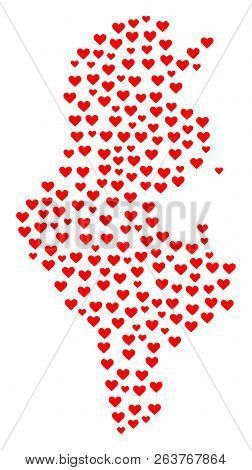 Collage Map Of Tunisia Formed With Red Love Hearts. Vector Lovely Geographic Abstraction Of Map Of T