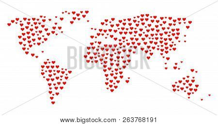 Mosaic Map Of World Created With Red Love Hearts. Vector Lovely Geographic Abstraction Of Map Of Wor