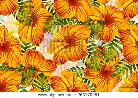 Tropical Pattern. Orange Green Exotic Summer Flower Vector Background. Beauty Fasion Monstera, Palm