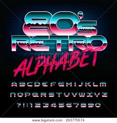 80s retro alphabet font. Uppercase shiny letters and numbers. Stock vector typescript for your design in 80s style. poster
