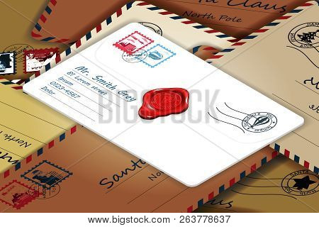 Isometric Pile Of Mailing Postal Address Mail Letters Post Stamp Template Vector Illustration
