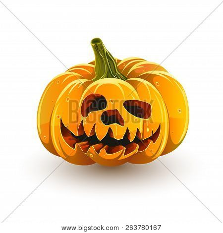 Halloween Pumpkin Isolated On White Background. Funny Toothy Halloween Pumpkin