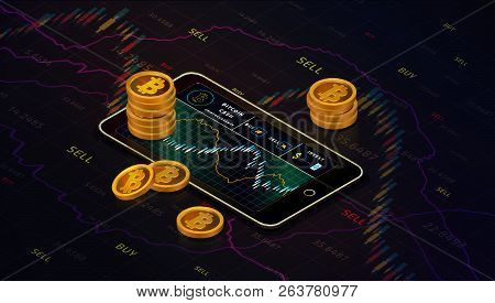 Smartphone With Bitcoin Cash Chart On Screen And Piles Of Gold Bitcoin Cash Coins Isometric Concept