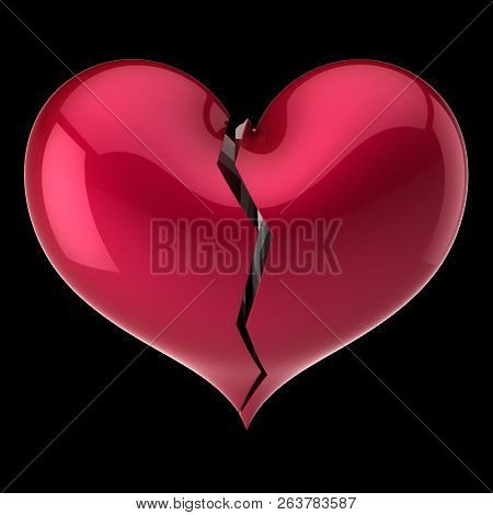 Broken Heart Shape Red. Failure Love, Cracked Soul, Depression Symbol, Bad Luck Drama Abstract. 3d R