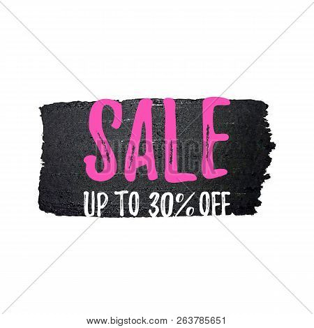 -50 Off Sale Banner Isolated On White Background. Hand Drawn Brush Stroke Design