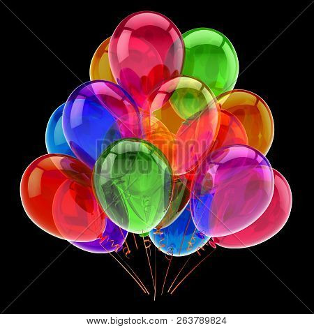 Colorful Happy Birthday Party Balloons Bunch. Carnival Decoration Multicolored Glossy. Celebration G