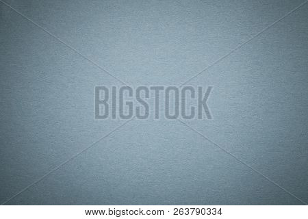 Texture Of Old Gray Paper Background, Closeup. Structure Of Dense Light Blue Kraft Cardboard. Felt G