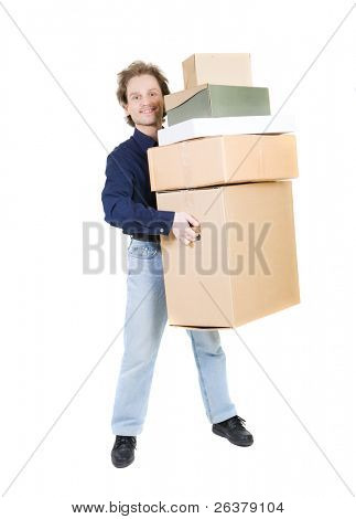 Happy man carrying different size boxes