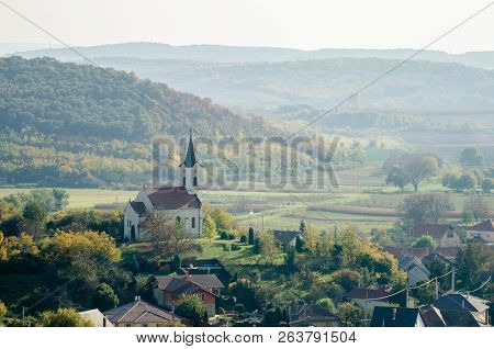 An Old Baroque Countryside Church From Above - Autumn Countryside Landscape