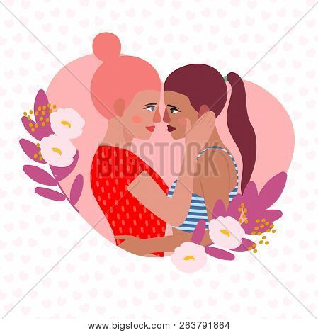 Vector Illustration  Lesbian Couple. Cartoon Character Woman Lesbian. Love Card Lesbian, Wife And Wi