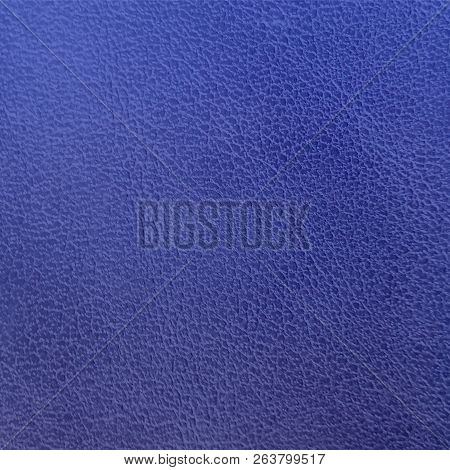 Dark Blue Leather Texture Closeup. Blue Wall Texture For Design. Abstract Cobalt Blue Background. Ve