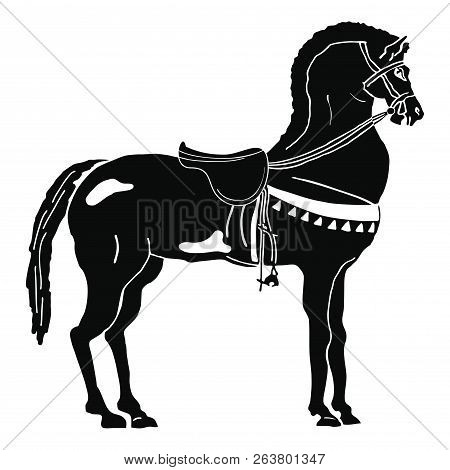 Black Horse With Saddle Isolated On White Background.