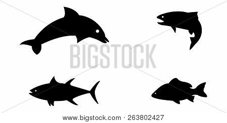 Vector Illustration Set Of Silloetted Sea Animals
