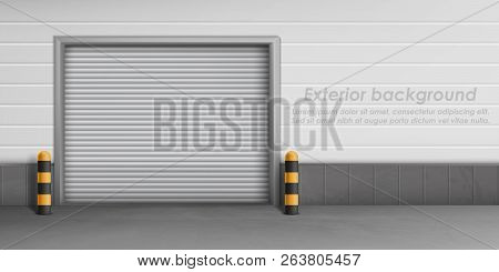 Vector Exterior Background With Closed Garage Door, Storage Room For Car Parking. Warehouse Entrance