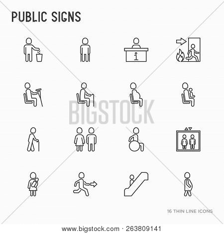 Public Signs Thin Line Icons Set: Information Stand, Fire Or Emergency Exit, Use Trash Can, Seats Fo
