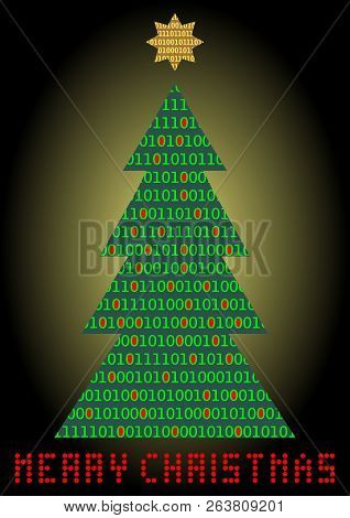 Christmas Tree, Digital Designed Christmas Card. Binar Code In Christmas Tree Silhouette And Diod In
