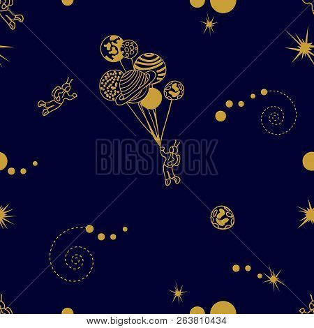 Seamless vector pattern with astronaut, stars, planets and abstract cosmologic symbols on black background. poster