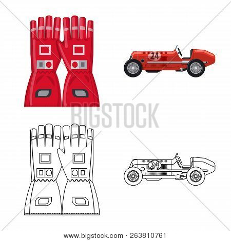 Vector Design Of Car And Rally Sign. Collection Of Car And Race Stock Vector Illustration.