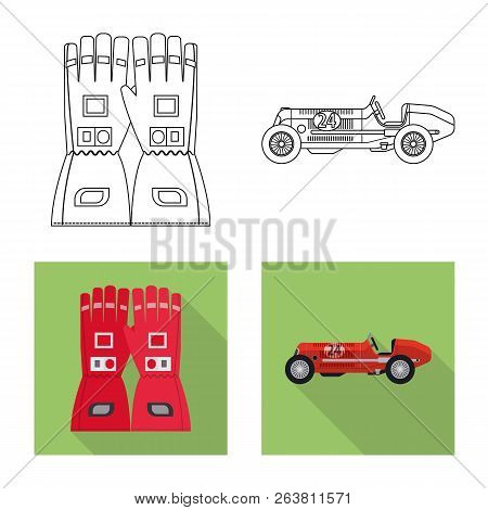Vector Design Of Car And Rally Logo. Set Of Car And Race Stock Symbol For Web.
