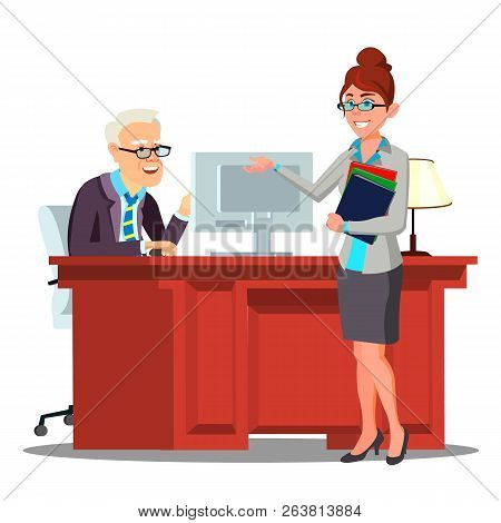 Interview, Candidate Introduces Herself To Staff Member With Curriculum Vitae Vector. Isolated Illus
