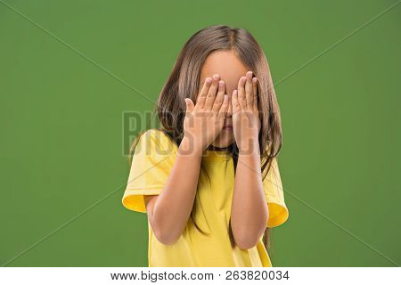 Im Afraid. Fright. Portrait Of The Scared Teen Girl. She Standing Isolated On Trendy Studio Backgrou
