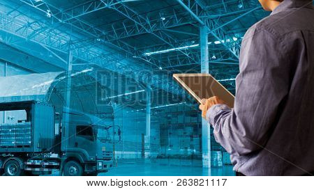 Businessman Manager Using Tablet Check And Control For Workers With Modern Trade Warehouse Logistics
