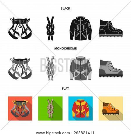 Vector Design Of Mountaineering And Peak Symbol. Collection Of Mountaineering And Camp Stock Vector