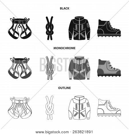 Vector Illustration Of Mountaineering And Peak Icon. Set Of Mountaineering And Camp Stock Vector Ill