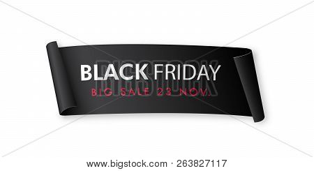 Black Realistic Curved Paper Banner. Black Friday Sale Advertising Design. Vector Illustration