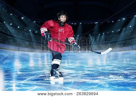 Hockey Player With Stick On The Rink Of Ice Arena