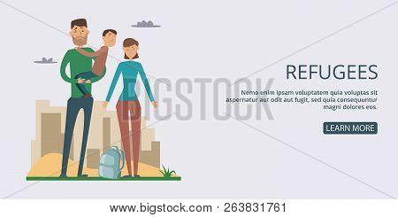Refugees banner horizontal concept man. Cartoon illustration of refugees banner man horizontal concept for web poster