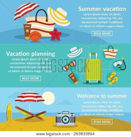 Summer Rest Banner Horizontal Concept Set. Flat Illustration Of 3 Summer Rest Banner Horizontal Conc