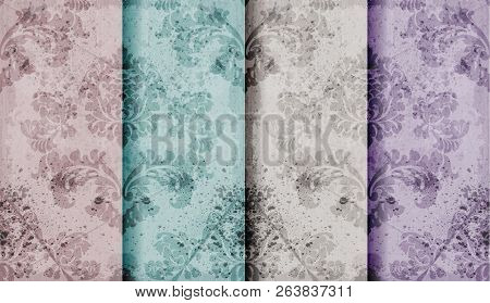 Vintage Floral Baroque Pattern Set Collection Vector. Beautiful Ornament Decor. Royal Luxury Texture