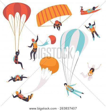 Paratroopers Descending With Parachutes Set, Skydiving, Parachuting Extreme Sport Vector Illustratio