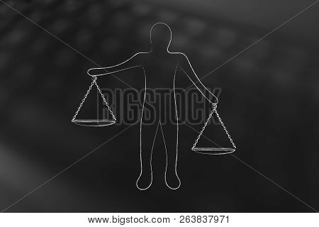Equilibrium Conceptual Illustration: Person Holding Balance Scale Plates In Unbalanced Position