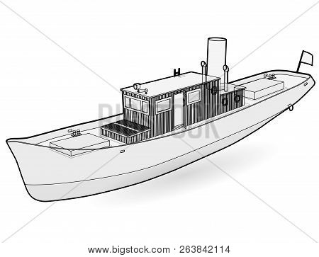 Small River Steamer With Large Chimney. Outlined Motor Boat. Sea Steamship For Fishing And Leisure T