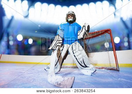 Young Goaltender Preparing To Catch The Puck