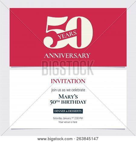 50 Years Anniversary Invitation Vector Illustration. Design Template Element With Body Copy For 50th