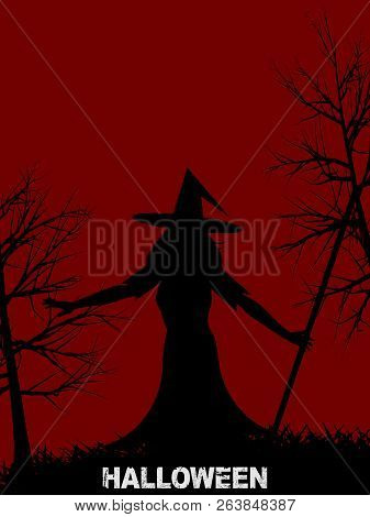 Halloween Red Background With Silhouette Of A Witch With Hat Creepy Trees And Decorative Text